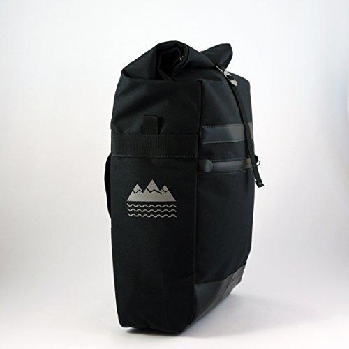 Velopac 20L Bicycle Pannier Bike Shoulder Bag For Rear Rack (Black/Black)