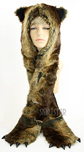 Unisex Furry Hood with Ears and Hand Warmers (Brown Bear) (Bear Arms Costume)