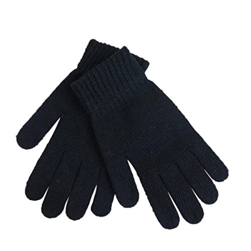 Veenajo Mens Solid Striped Wool Gloves, Solid Color Winter Thick Knit Gloves, Unisex, Stretchy (Black)