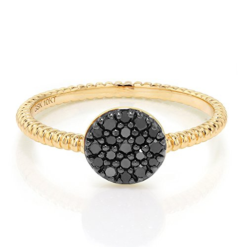 10K Solid Yellow Gold 0.20 Cttw Black Diamond Anniversary Wedding Ring (Available in size 5, 6, 7, 8, 9)