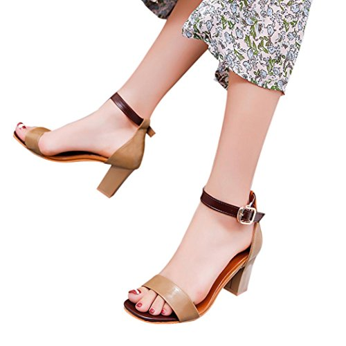 Cooljun Mode Frauen Damen Sandalen Ankle High Heels Block Party Offene Spitze Schuhe Brown