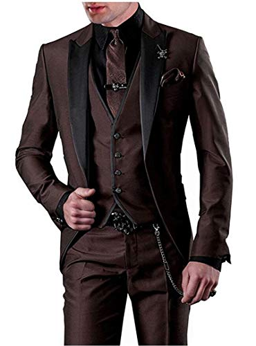 One Button 3 Pieces Brown Wedding Suits Notch Lapel Men Suits Groom Tuxedos Brown 38 Chest / 32 Waist