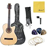 Henrix 38C 38 inch Cutaway Acoustic Guitar with Picks, Bag, Strings, Strap and String Winder (Natural)