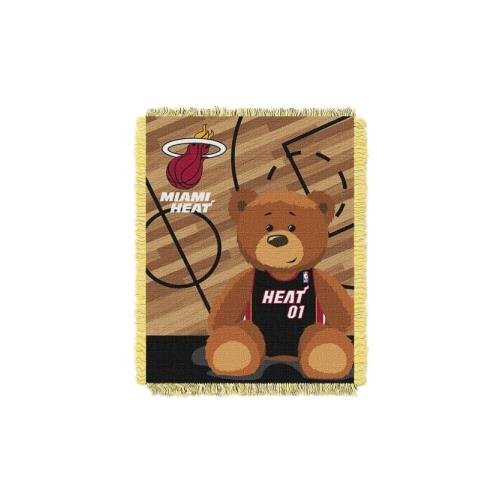 - The Northwest Company Officially Licensed NBA Miami Heat Half Court Woven Jacquard Baby Throw Blanket, 36