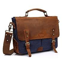 Vaschy Casual Genuine Leather Canvas messenger Bag Notebook Shoulder Bag Bookbag with Detchable Strap