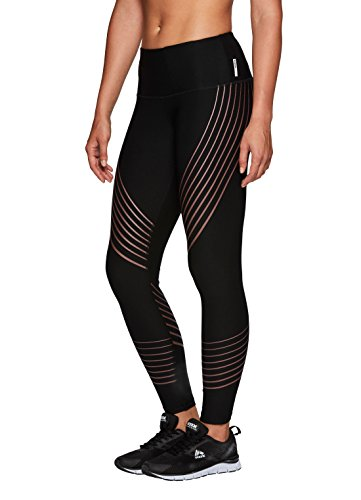 RBX Active Women's Contour Stripe Athletic Leggings Black with Rose Gold L