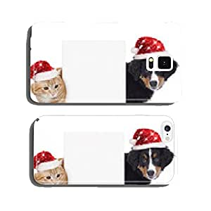 Cat and dog with Santa hat cell phone cover case Samsung S6