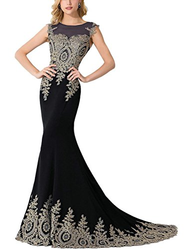 MisShow Women's Embroidery Lace Long Mermaid Formal Evening Prom Dresses, Black, Size 14