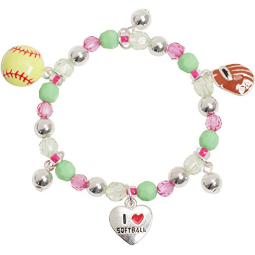 Girls Neon I Love Softball Charm Crystal Stretch Bracelet with Pink Green (Enamel Crystal Stretch Bracelet)