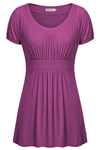 Helloacc Womens Shirts,Round Neck Short Sleeve Elastic Waist Blouse for Women Office Summer Comfy Flowy Lightweight Tunic Tops for Leggings Pleated Hem Ladies A Line Flare Dress Petite Size Magenta M