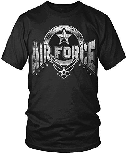 United States Air Force, USAF Distressed Logo Men's T-shirt, Amdesco, Black (Air Force Logo T-shirt)