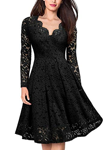 YIXUAN Women Vintage Long Sleeve Dresses Floral Lace Party Cocktail Swing Dress Black_V_2 Small ()