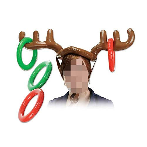 2PC Inflatable Reindeer Hat Antler Ring Toss Holiday Party Game Toys