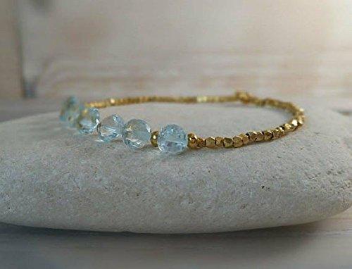 JP_Beads Natural No Treatment Sky Blue Topaz Onion Drops and 24K Gold Vermeil Beads Bracelet 7mm