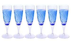LED impermeable Ivation champán luminoso de tazas - activado por Champagne o cualquier bebida - disponible en elección de 6 LED colores - ideal para fiestas, bares, clubes, plástico, Blue LED, paquete de 6