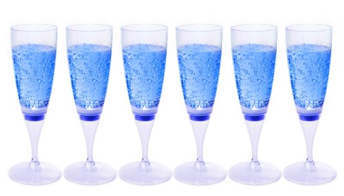 Ivation LED Waterproof Light-Up Champagne Flute Cups - Blue LED Cup (Pack of 6)
