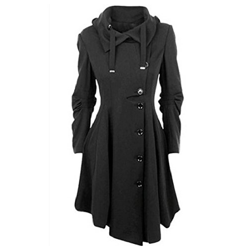 Susanny Womens Modern Button Closure Asymmetrical Winter Long Trench Jackets Coat Black