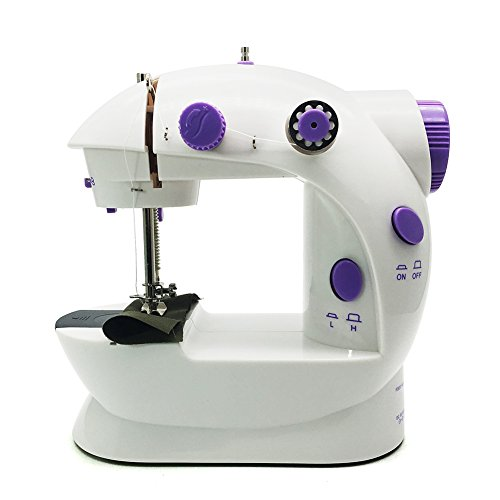 FlatLED Mini Sewing Machine, Double Thread Double Speed, Portable With Small Light and Foot Pedal AC100-240V, Purple - Sewing Machines Disney