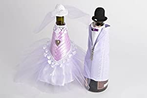 Decoracion para botellas de cava 2 trajes de novios artesanales ...