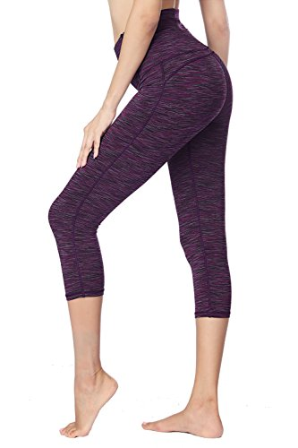 Dragon Fit Compression Yoga Pants Power Stretch Workout Leggings with High Waist Tummy Control (Large, Capri-Purple) by Dragon Fit