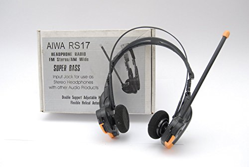 (Aiwa Radical HR-RS17 Headphone Radio FM Stereo AM Wide SUPER BASS - Input jack for use as stereo headphones with other audio)