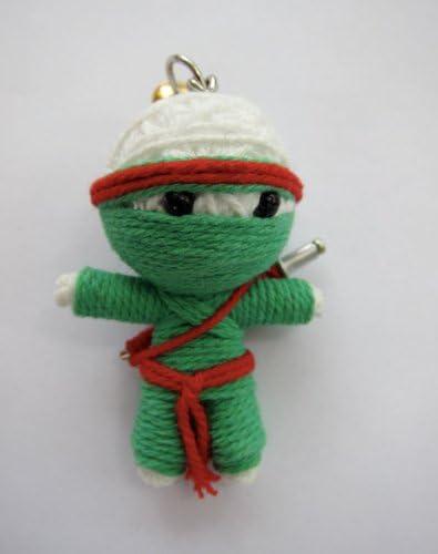 Green Ninja Voodoo String Doll Keychain