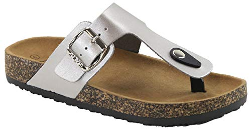 Women's Slide Sandal Thong Slip On Flip Flop Toe Loop Cork Buckle Faux Leather Beach Casual Platform Flat Shoes GR200 (7 B(M) US, Silver)