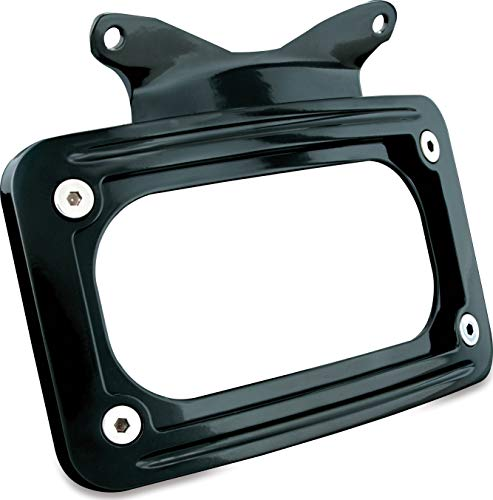 Kuryakyn 3147 Motorcycle Accessory: Curved License Plate Mount for 2010-19 Harley-Davidson Motorcycles, Gloss Black ()