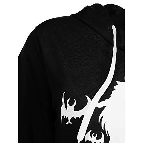 Decoration À Manches Femmes Noir Chemisier Tops Longues Imprimer Robe Sweat Halloween Capuchon Angelof Costume Sorcière FpqFZ5
