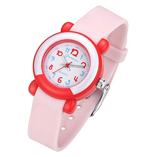 Kids Analog Watches Child Quartz Wrist Watch for Girls Boys Learning Time Analog Wristwatches for Boys Girls (Pink)