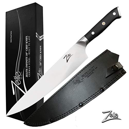 (ZELITE INFINITY Chef Knife 10 inch | Alpha-Royal German Series | German High Carbon Stainless Steel | Pakkawood Handle | Full Tang | Leather Sheath)