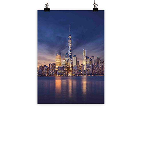 (BarronTextile Cityscape Light Luxury American Oil paintingNew York City Manhattan After Sunset View Picture with Skyline Reflection on River Home and everythingNavy Gold 20