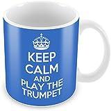 Blue Keep Calm and Carry On et jouer de la trompette Mug Tasse à Café Cadeau Idée Cadeau Musique