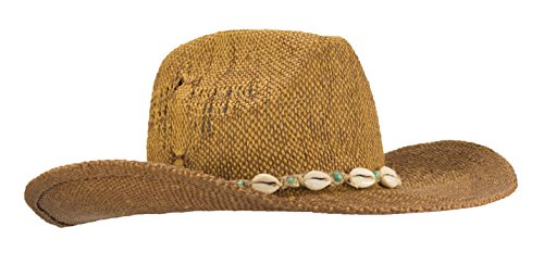 New Hand Woven Ombre Cowboy Cowgirl Hat With Beaded cowrie Shell hatband, UPF 50+ (Natural/Brown) (Cap Woven Straw Hand)