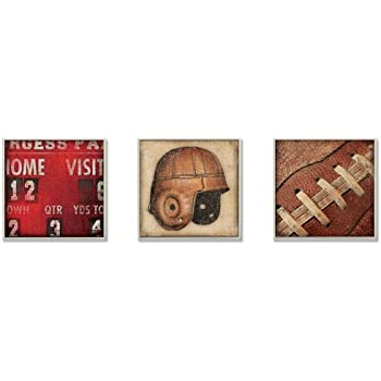 Stupell Home Décor The Big Game Football Memories 3-Pc. Square Wall Plaque Set, 12 x 0.5 x 12, Proudly Made in USA