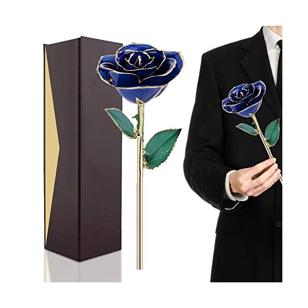 24K Gold Rose, Long Stem Dipped Flower Gift for Her, Made of Fresh Rose, Last Forever Mother's/Thanksgiving/Christmas/Valentine's/Birthdays Party/Graduations/Weddings (#9)