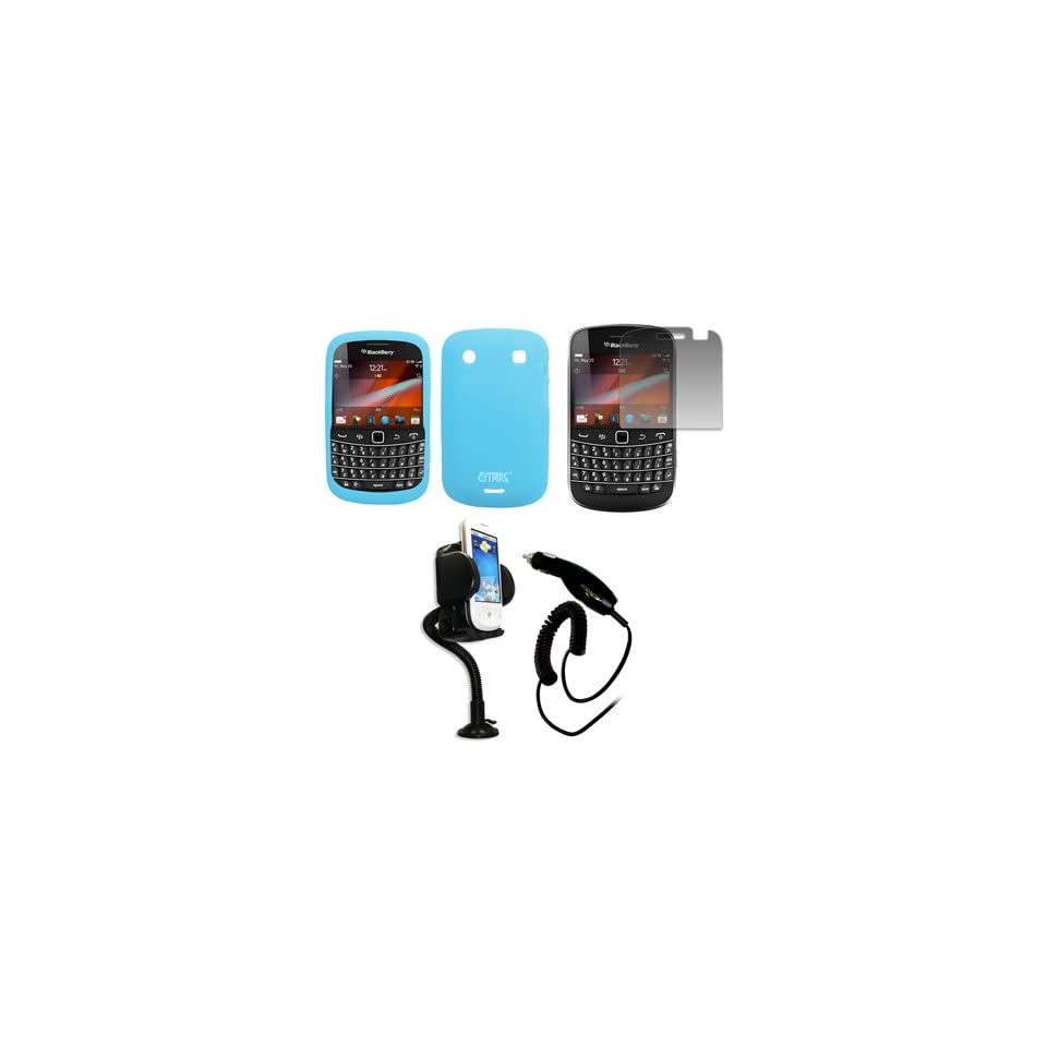 EMPIRE Light Blue Silicone Skin Case Cover + 360 Degree Rotatable Car Windshield Mount with Air Vent Attachment + Screen Protector + Car Charger (CLA) for Verizon BlackBerry Bold 9930