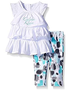 Baby Girls' White Lawn Tunic and Printed Leggings