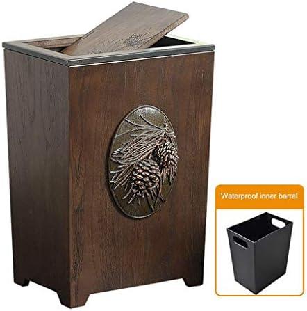 キッチンゴミ箱 蓋付きの木製ごみ箱、素朴な農家スタイルごみ箱ビン、長方形ごみ箱、スイング蓋ゴミ箱 ごみ収集 (Color : B)