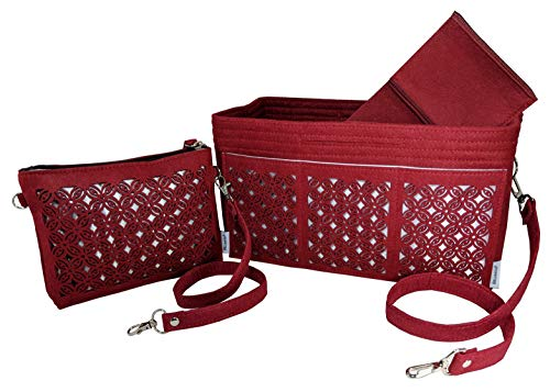 Wool Handbag Purse - BELIANTO Felt Purse Tote Organizer - Clutch, Perfectly Organizes Desktop, Crafts, Knitting Supply (Floral Motif) (Medium, Burg Red)