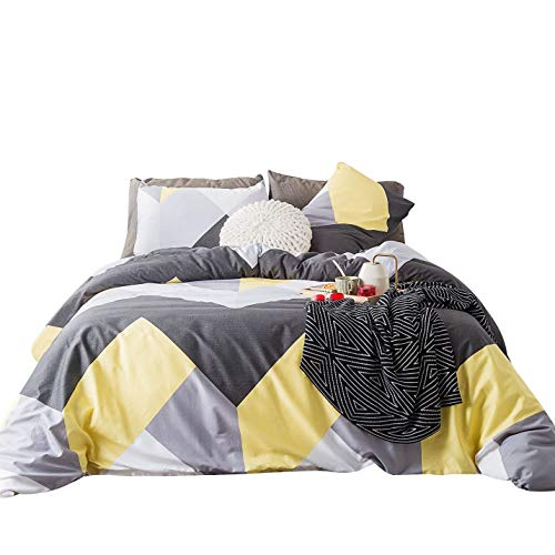 SUSYBAO 3 Piece Duvet Cover Set 100% Cotton King Size Gray and Yellow Geometric Bedding Set with Zipper Ties 1 Silver Chevron Duvet Cover 2 Pillowcases Luxury Quality Soft Breathable Easy Care (Comforter Chevron Size King)