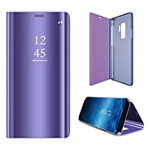 Galaxy S9 Mirror Case,Samsung Galaxy S9 Case Leather Purple Phone Protective Cover,Gostyle Fashion Slim Fit Plating Hard Flip Shockproof Case with Stand Function Make Up Mirror Clear Case