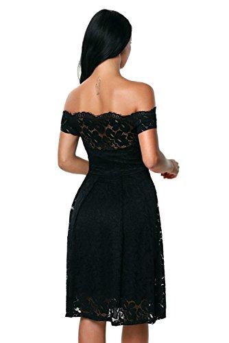 Neuf pour femme Noir en dentelle Off épaule Robe patineuse Bureau Robe Soirée Taille S UK 8–10EU 36–38