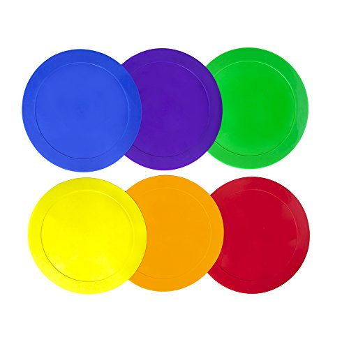 Ace Creations 9 Inch Poly Vinyl Spot Markers - For Training and Drills - Set of 6 - One of Each Red, Green, Orange, Purple, Blue, and Yellow