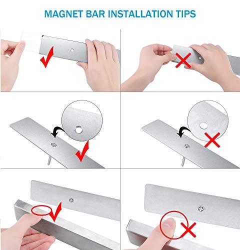 NUNET 16 Inch Stainless Steel Magnetic Knife Bar 4 Hanger Hooks with Adhesive Pad Strong Magnet as Knife Rack/Strip, Kitchen Utensil Hanger, Garage Tool Holder & Home Organizer by NUNET (Image #3)