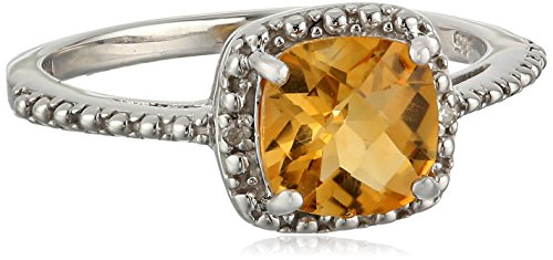 Sterling Silver Cushion Citrine and Diamond Accent Ring, Size 7 (Ring Cushion Fashion Citrine Cut)