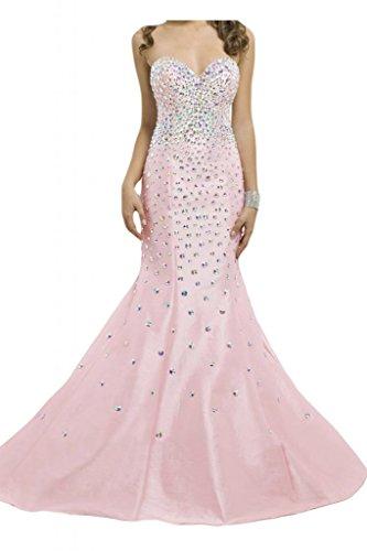 Por la noche de la novia sirena Toscana por la noche vestidos de moda elegante de cristal al fútbol de tafetán de largo vestidos Prom Rosa