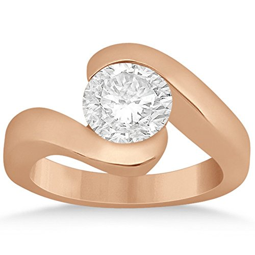 (Contemporary Curved Band Tension-Set Round-Cut Solitaire Diamond Engagement Ring in 18k Rose Gold)