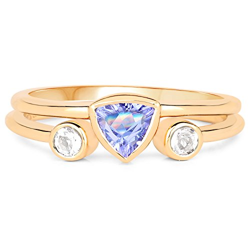 LoveHuang 0.53 Carats Genuine Tanzanite and White Topaz Stacking Ring Set Solid .925 Sterling Silver With 18KT Yellow Gold ()