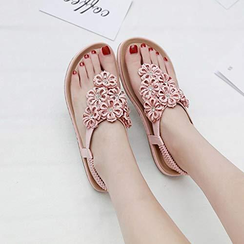 La Chaussures Printemps Sandales Plates Casual Mode Femmes Cristal Rose Des À Floral En Eté Roma dxXwPRH